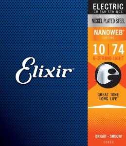 ELIXIR 12062 NANOWEB NICKEL PLATED MUTA PER ELETTRICA 8 CORDE 10-74