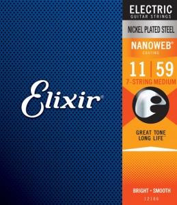 ELIXIR 12106 NANOWEB NICKEL PLATED MUTA PER ELETTRICA 7 CORDE 11-59