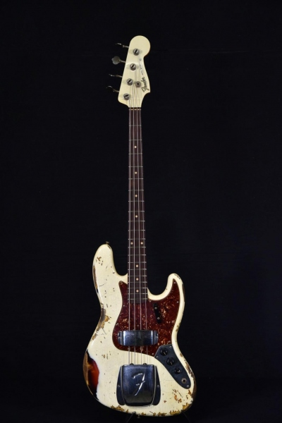 FENDER CUSTOM SHOP 66 JAZZ BASS HEAVY RELIC VINTAGE WHITE OVER SUNBURST