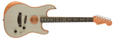 Fender American Acoustasonic Stratocaster Transparent Sonic Blue Ebony Fingerboard