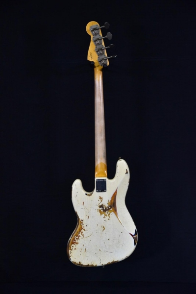 FENDER CUSTOM SHOP 66 JAZZ BASS HEAVY RELIC VINTAGE WHITE OVER SUNBURST 2