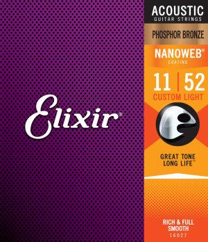 Elixir 16027 Nanoweb Phosphor Bronze Muta Per Chitarra Acustica 11-52