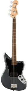 Squier Affinity Series Jaguar Bass H Charcoal Frost Metalllic Black Pickguard