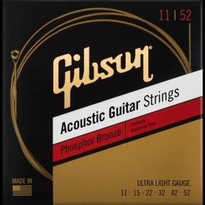 Gibson Phosphor Bronze Acoustic Guitar Strings Ultra-Light 11-52 Corde Acustica