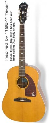 EPIPHONE INSPIRED BY 1964 TEXAN ANTIQUE NATURAL