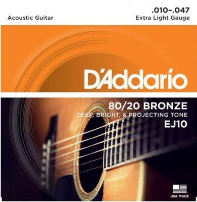D'Addario Ej10 Muta Per Chitarra Acustica Bronze 10 - 47