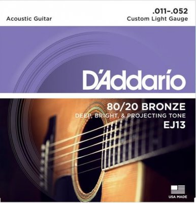 D'ADDARIO EJ13 80/20 BRONZE CUSTOM LIGHT 11 - 52 CORDE PER CHITARRA ACUSTICA