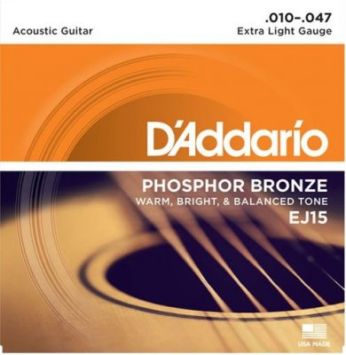 D'ADDARIO EJ15 PHOSPHOR BRONZE EXTRA LIGHT MUTA 010-47