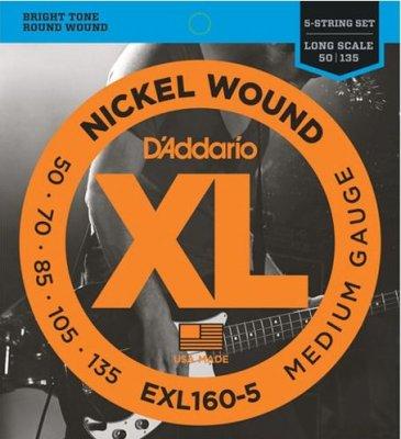 D'Addario Exl160-5 Long Scale 50-135