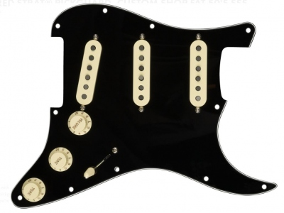 FENDER PRE-WIRED STRATOCASTER PICKGUARD CUSTOM FAT 50 SSS BLACK
