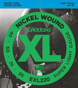 D'ADDARIO EXL220 NICKEL WOUND BASS 40-95 LONG SCALE