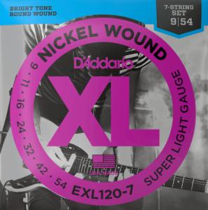 D'ADDARIO EXL120-7 CORDE NICKEL 09-54 PER CHITARRA ELETTRICA 7 CORDE